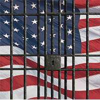American Flag behind prison bars