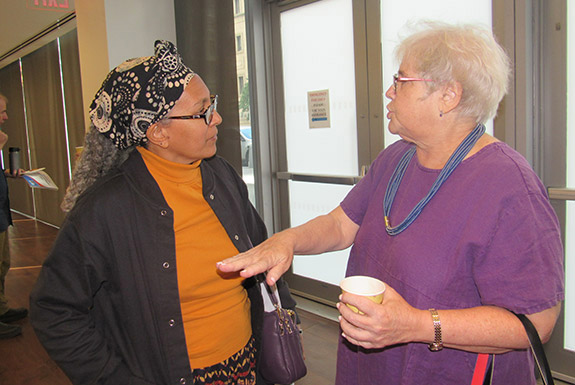Jessica Gordon-Nembhard, Ph.D., Professor in the Department of Africana Studies, engaged in conversation
