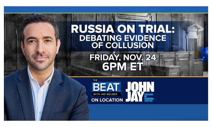 "MSNBC's show ""The Beat with Ari Melber,"""